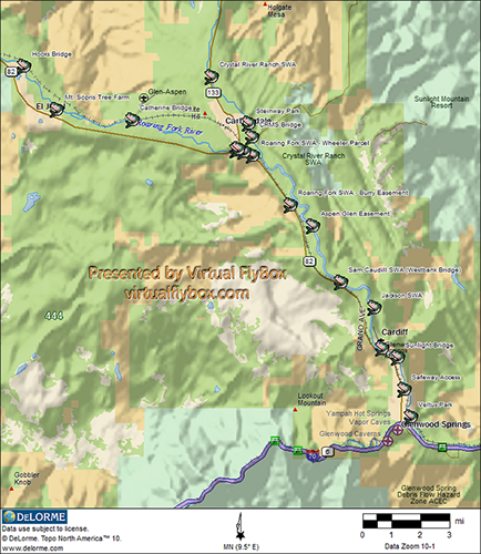 Fly fishing colorado 39 s roaring fork river for Colorado fishing map