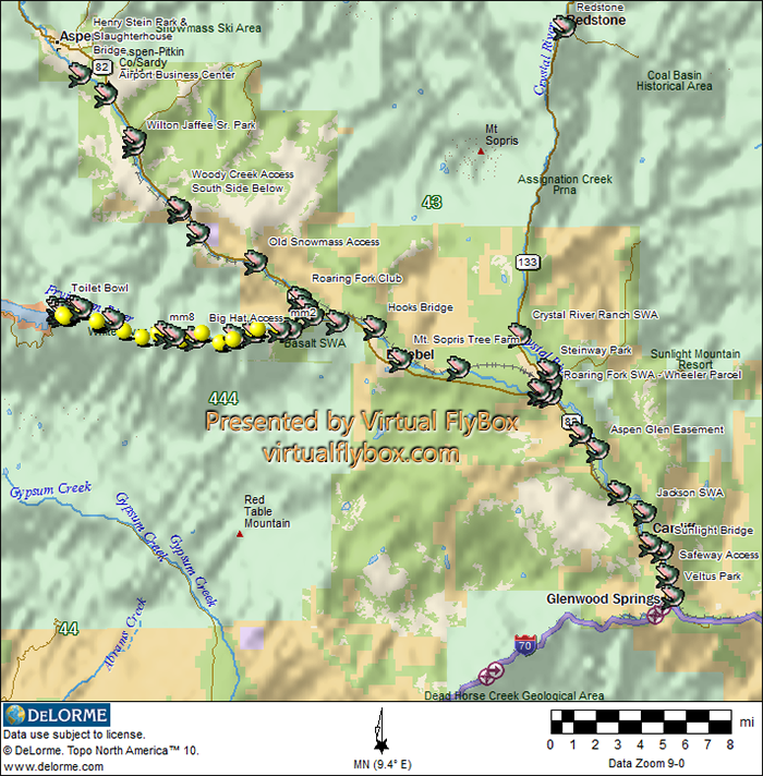 Roaring Fork Valley Fly Fishing Access Map